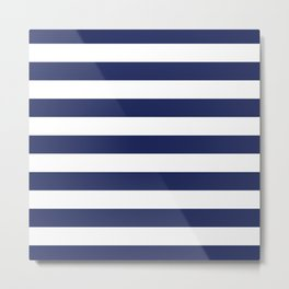 Navy Blue and White Stripes Metal Print