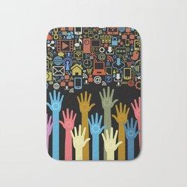 Society Hands 3D Social Network Phone Computer Colors Addiction Bath Mat