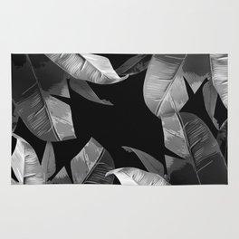 Tropical Palm Print Black and White Rug