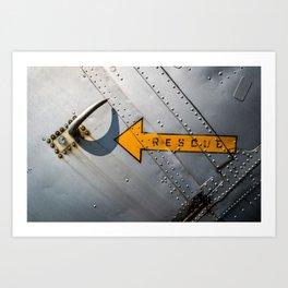 Airplane Metal Rescue Sign Art Print