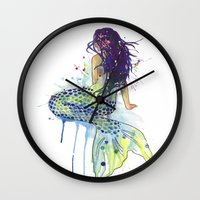 mermaid Wall Clocks featuring Mermaid by Sam Nagel