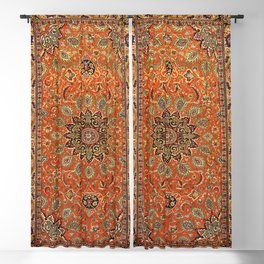 Central Persia Qum Old Century Authentic Colorful Orange Yellow Green Vintage Patterns Blackout Curtain