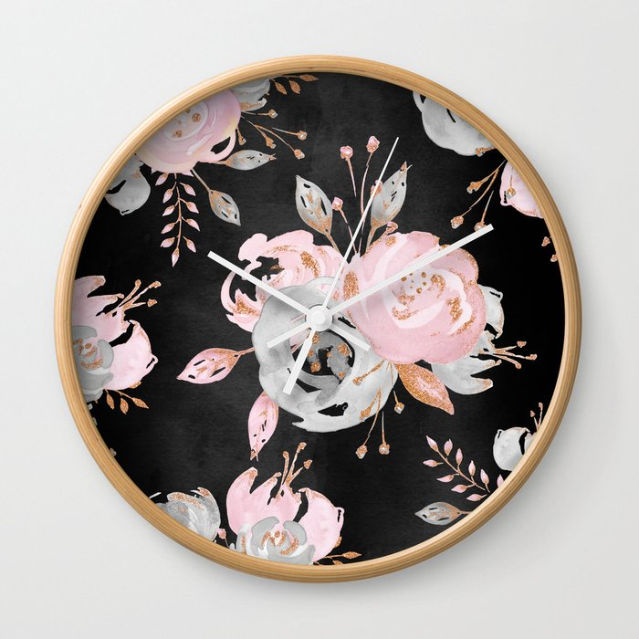 Night Roses 2 Wall Clock