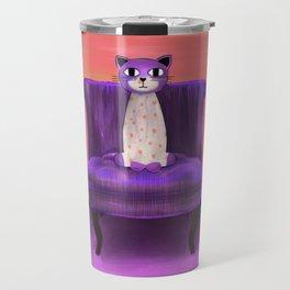 Elegant Cat violet Travel Mug