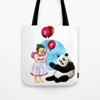 balloons Tote Bags featuring Balloons by Anna Shell