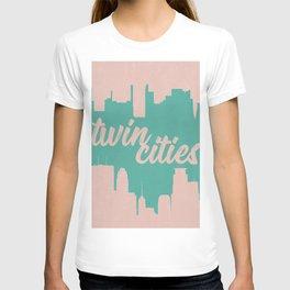 Minneapolis and Saint Paul Minnesota Twin Cities-Pink and Green T-shirt