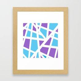 Abstract Interstate  Roadways Aqua Blue & Violet Color Framed Art Print
