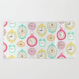 Vintage Clocks Beach Towel