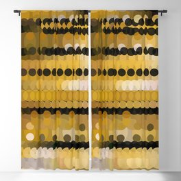 HONEY bright gold and black abstract honeycomb design Blackout Curtain