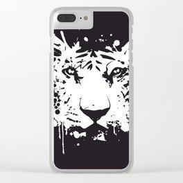 white graffiti tiger head Clear iPhone Case