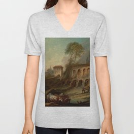 """François Boucher """"Imaginary Landscape with the Palatine Hill from Campo Vaccino"""" Unisex V-Neck"""