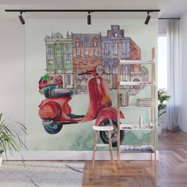 Red Vespa Wall Mural