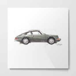 Grey 911 Metal Print
