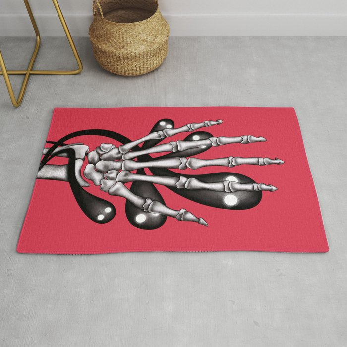 Skeleton hand with ghosts Rug