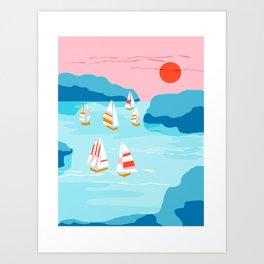 Tight - memphis throwback retro vintage classic sport boating yachting sailboat harbor sea ocean art Art Print