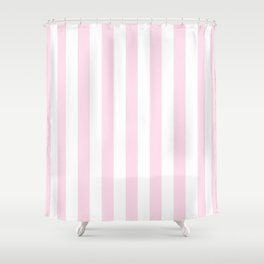 Simple Pink and White stripes, vertical Shower Curtain