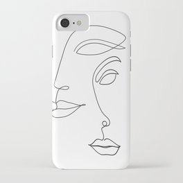 Two Faced Romantic Lovers Illustration iPhone Case