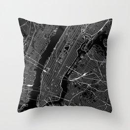 New York City Black Map Throw Pillow