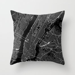 New York City Black Map Throw Pillow