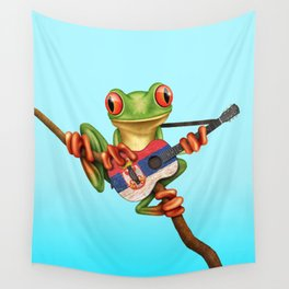 Tree Frog Playing Acoustic Guitar with Flag of Serbia Wall Tapestry