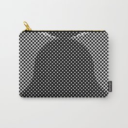 Shadows, mountains, a big eye, all made out of small dots. Black and white. Carry-All Pouch