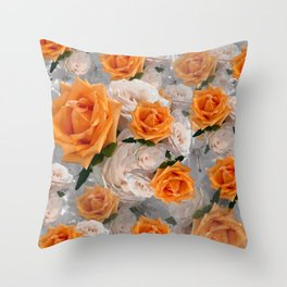 CORAL ROSES AND CHERRY BLOSSOMS Throw Pillow