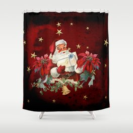 Santa Claus with gifts and christmas flower Shower Curtain