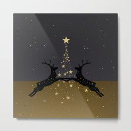 Champagne Gold Star Christmas Tree with Magical Reindeers - Cozy Brown Metal Print