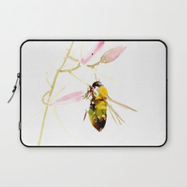 Bee and Pink Flowers Laptop Sleeve