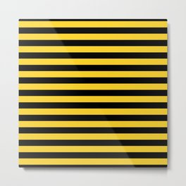 Black and Yellow Honey bee Stripes Metal Print