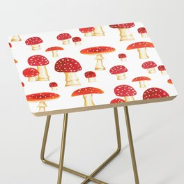 Hand painted Spring Mushrooms by Elizabeth Caparaz Side Table