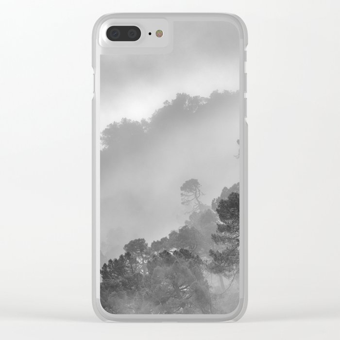 """BW.""""Mountain light II"""". Foggy forest. Clear iPhone Case"""