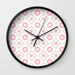 Pink pastel pattern of rhombuses and circles Wall Clock