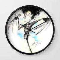 edward scissorhands Wall Clocks featuring Edward Scissorhands by alexviveros.net