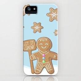 Merry Christmas Blue Poster with Gingerbread Man and Snowflakes iPhone Case