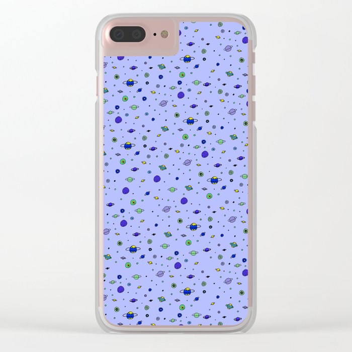indigo Space with Blue Planets Clear iPhone Case