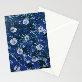 Abstract navy blue white acrylic paint brushstrokes Stationery Cards