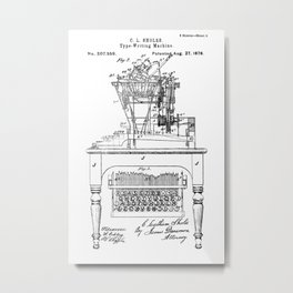 QWERTY Typewriter: Christopher Latham Sholes QWERTY Typewriter Patent Metal Print