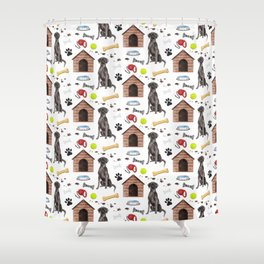 Labrador Retriever Black Half Drop Repeat Pattern Shower Curtain