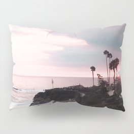 Laguna Beach | LoFi Relaxed Aesthetic Pinkish Sunset Palm Trees Hippie Ocean Horizon Waves Pillow Sham