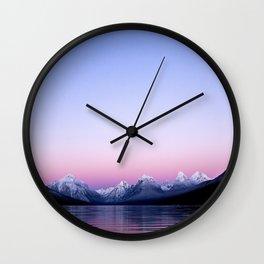 pastel mountain lake sunset Wall Clock