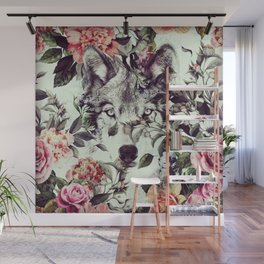Floral Wolf Wall Mural