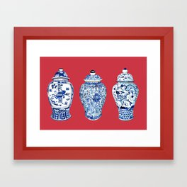 GINGER JAR TRIO ON RED Framed Art Print
