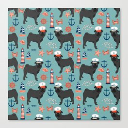 Pug nautical sailing pattern dog breed pet portrait pet friendly dog art Canvas Print
