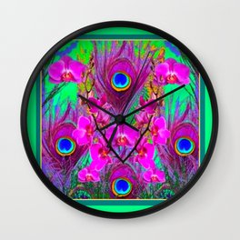 Green & Fuchsia Peacock Feathers Pink Orchid Patterns Art Wall Clock