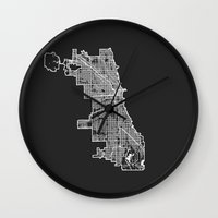chicago map Wall Clocks featuring CHICAGO MAP by Nicksman