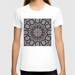 Mandala in black and white with hint of purple and green T-shirt