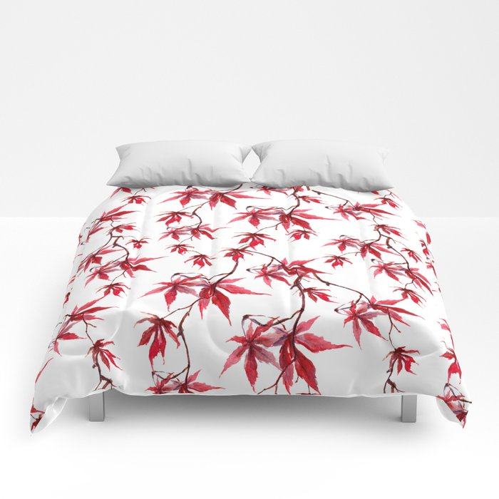 Watercolor Botanical Red Japanese Maple Leaves on Solid White Background Comforters