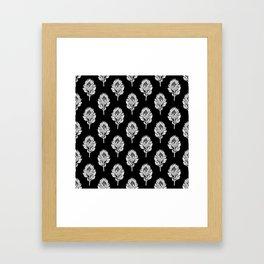 Linocut Protea flower printmaking pattern black and white floral Framed Art Print