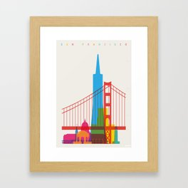 Shapes of San Francisco. Accurate to scale Framed Art Print